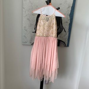 Special occasion pink and gold girl's dress
